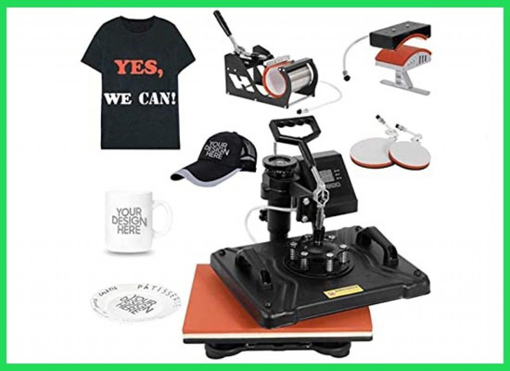 Smartxchoices Pro 5 in 1 Heat Press Machine Combo for T-Shirts Hat Mug Plate Cap Sports Bottle